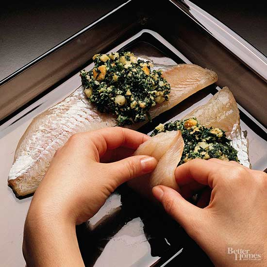 Spinach-Stuffed Pike with Hollandaise