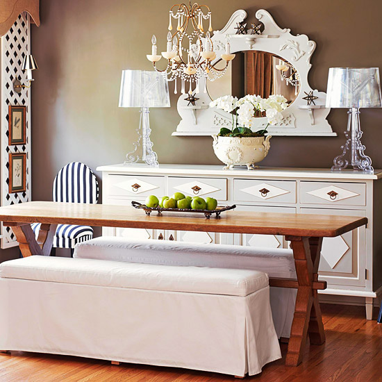 tables with bench seating
