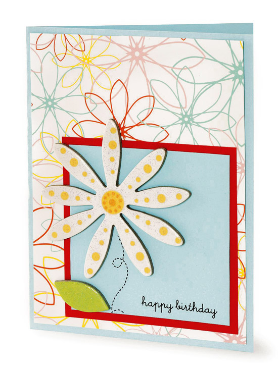 teal and red daisy birthday card
