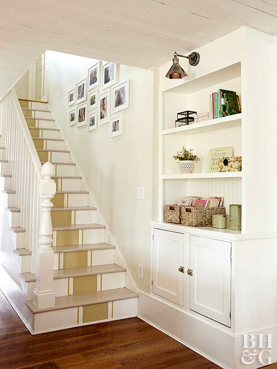 traditional stairway with built-in storage