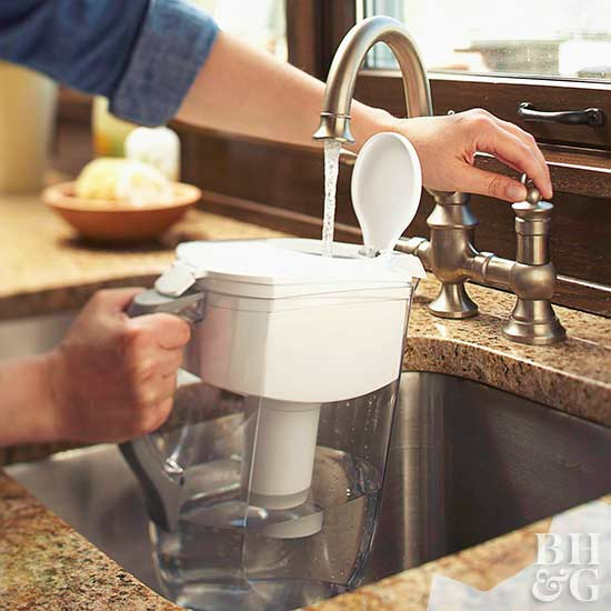 water filter, filling up water, sink