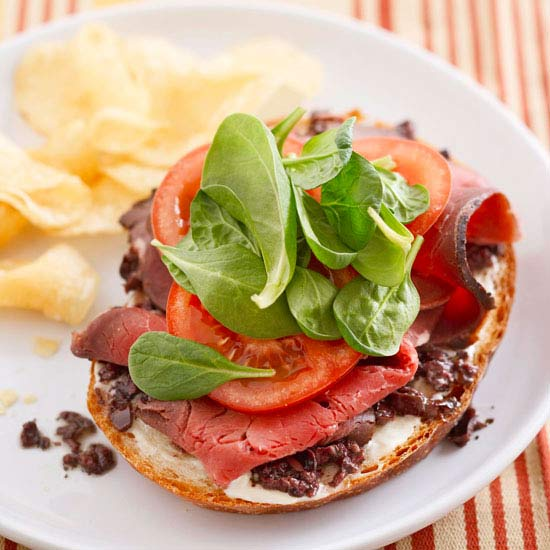 Beef and Tapenade Open Face Sandwiches