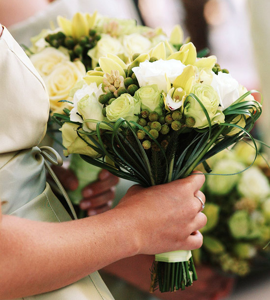 White Rose Bouquet with Greenery
