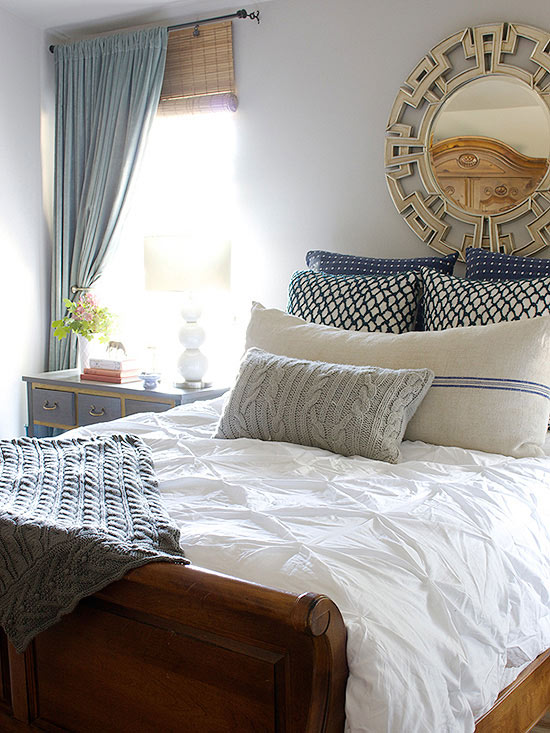 A Faux Headboard With Pillows