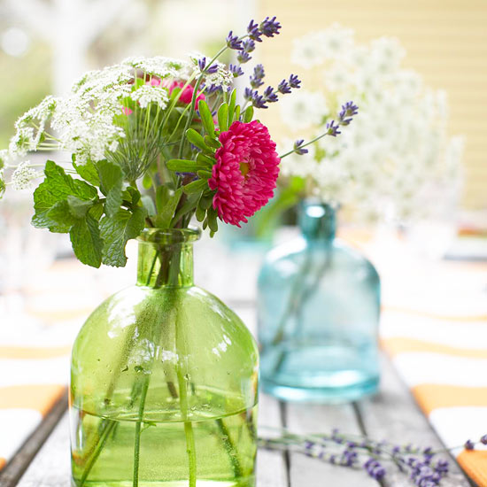 Wildflowers and Colored-Glass Table Accents