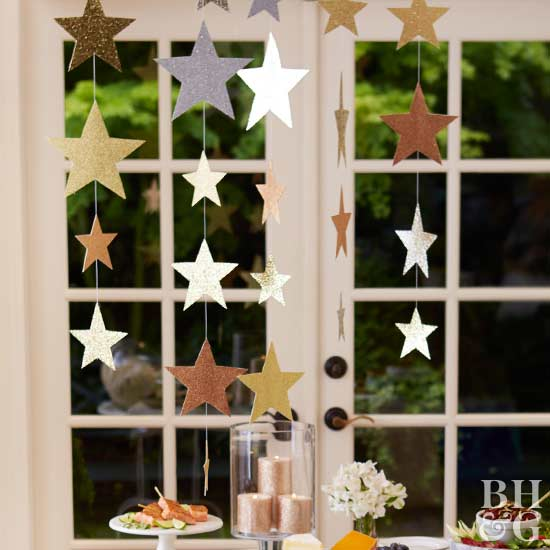 star garland, party decor, photo booth