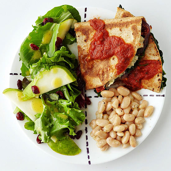 Mediterranean Quesadillas with Pear and Red Onion Salad