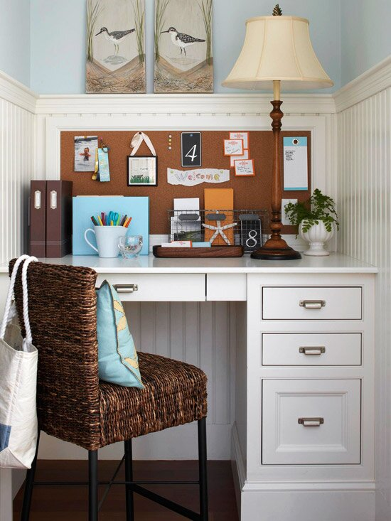 Small-Space Home Offices: Storage & Decor on small living room sofa ideas, small office storage ideas, small office decorating, elegant small office ideas,