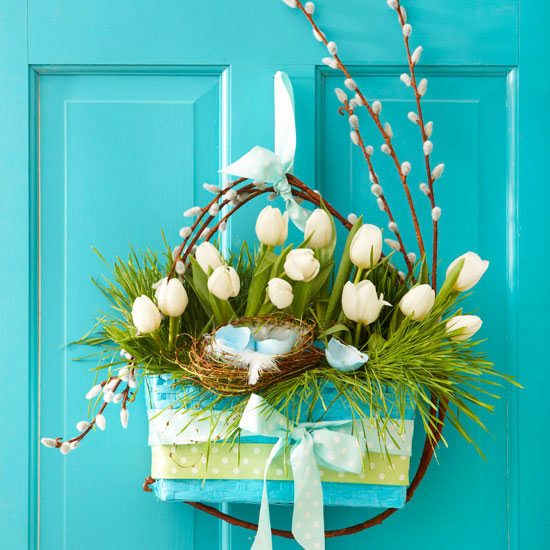 Spring door hanging with white tulips