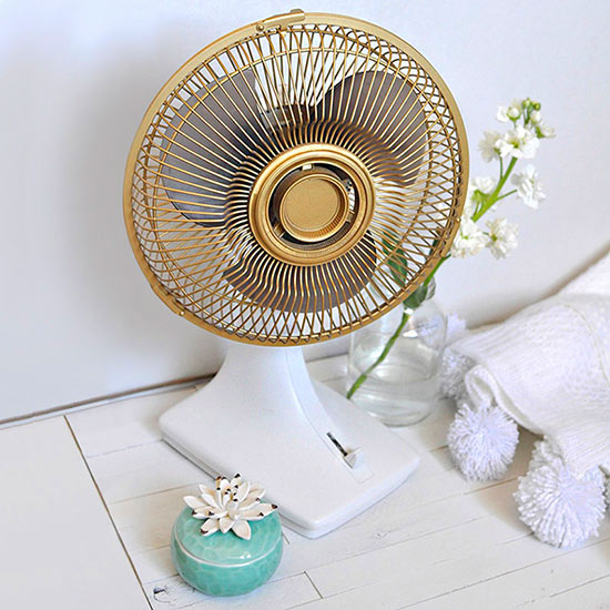 Gold-painted fan