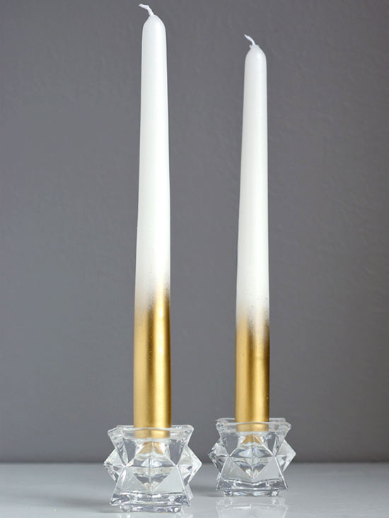 Gold-painted candles