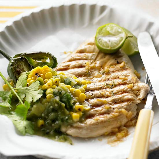 Lime-Marinated Chicken with Tomatillo-Corn Salsa