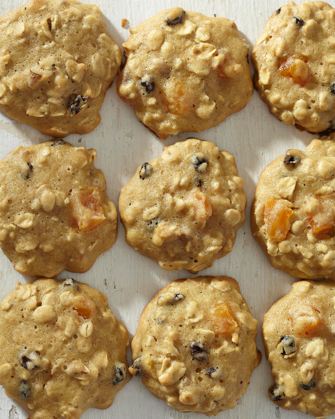 Fruity Oatmeal Cookies in grid on white table