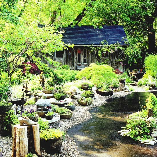 Natural garden with stone troughs