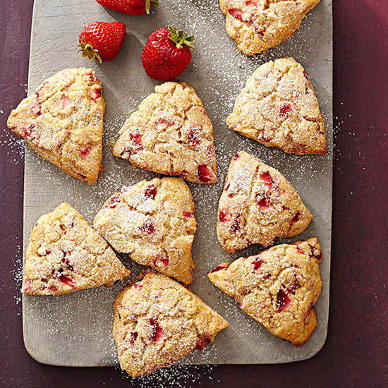 Gluten Free Lemon-Strawberry Cornmeal Scones