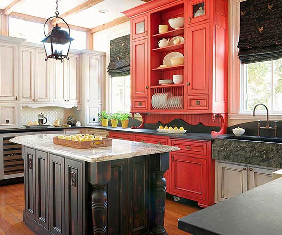 Kitchen With Red Cabinet