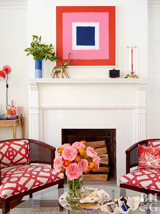 fireplace mantle with pink painting