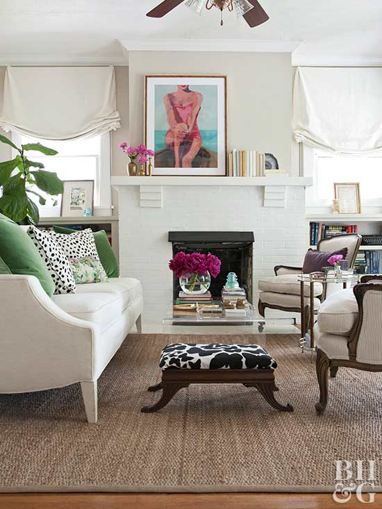 modern living room with vintage pieces