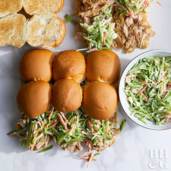 Fast or Slow Asian-Style Chicken Sliders with Slaw