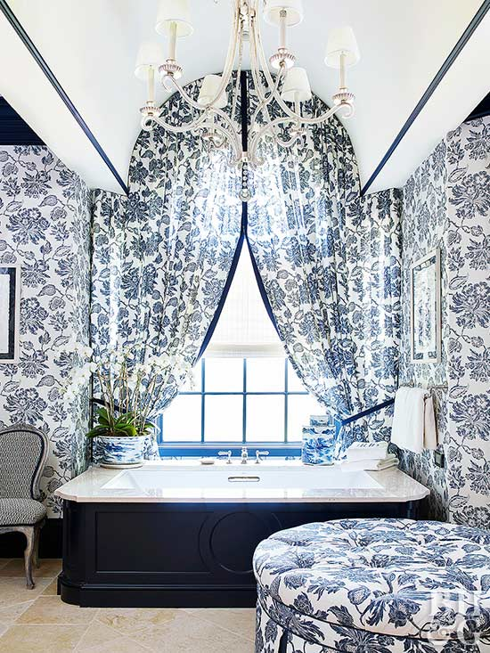 traditional bold patterned bathroom with blue