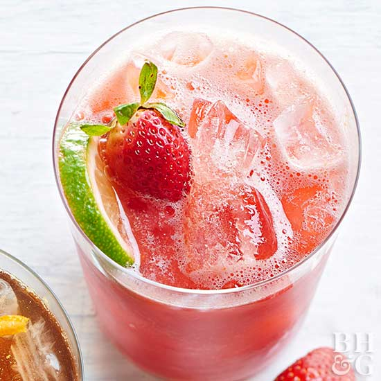Watermelon-Berry Limeade, strawberry, lime