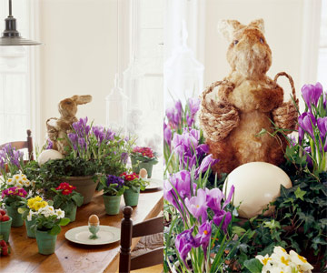 Floral, egg and bunny centerpiece full view