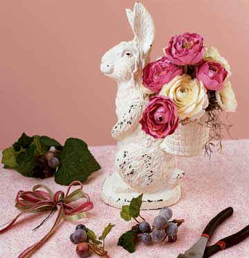 bunny with cream and pink flowers