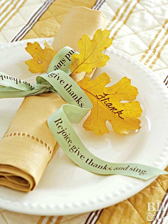 place setting with words on ribbon