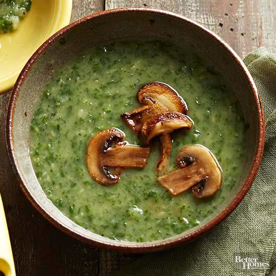 Garden Greens and Mushroom Soup