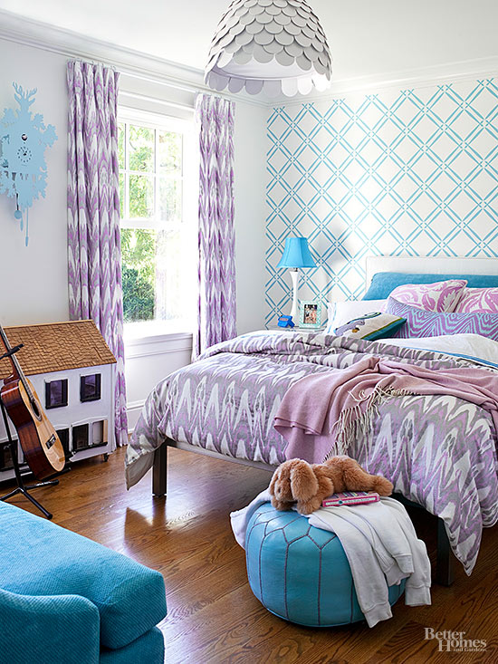 teal and purple bedroom