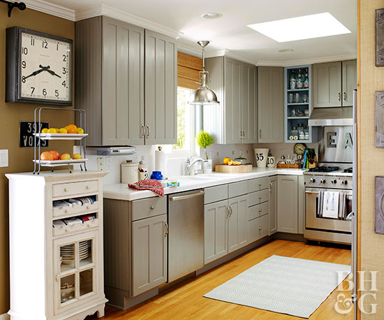 small kitchen gray cabinets