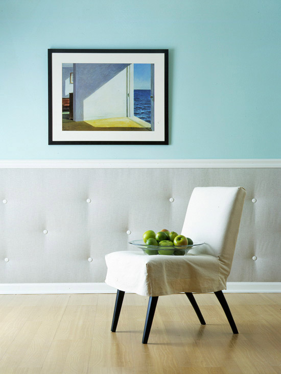Tufted wall with chair rail