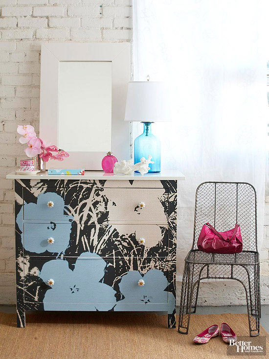 Transformed dresser with flowers
