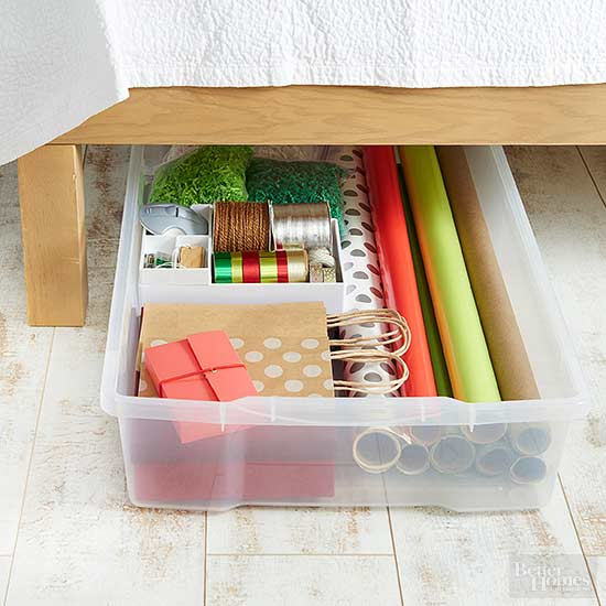 Out-of-Sight Gift-Wrap Storage