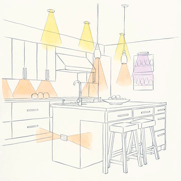 Kitchen lighting illustration