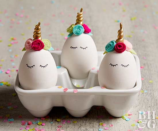 unicorn eggs decorated in crate