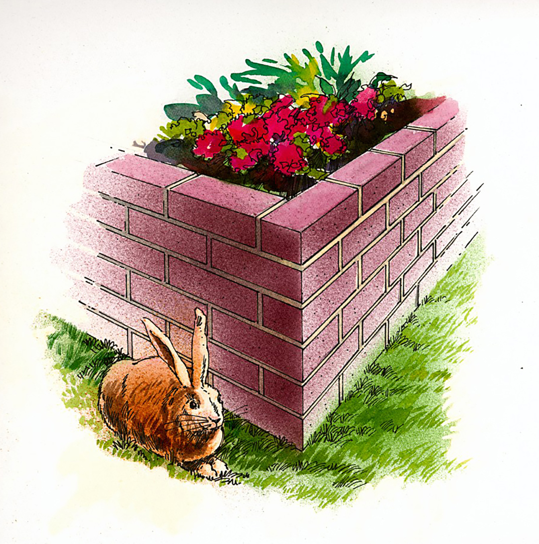 finished brick raised flower bed illustration with bunny