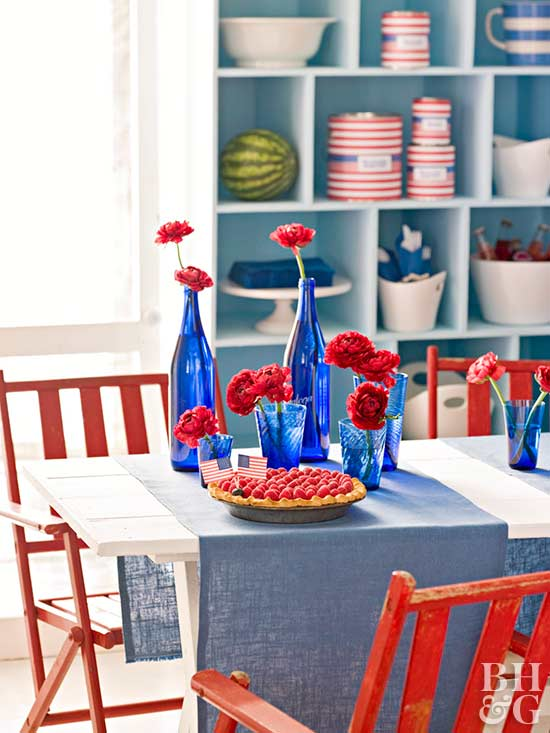 Blue Glassware Centerpiece, 4th of July decorations, 4th of July decor,  4th of July crafts, July 4th decor, 4th of July decorating, patriotic decorations, patriotic craft
