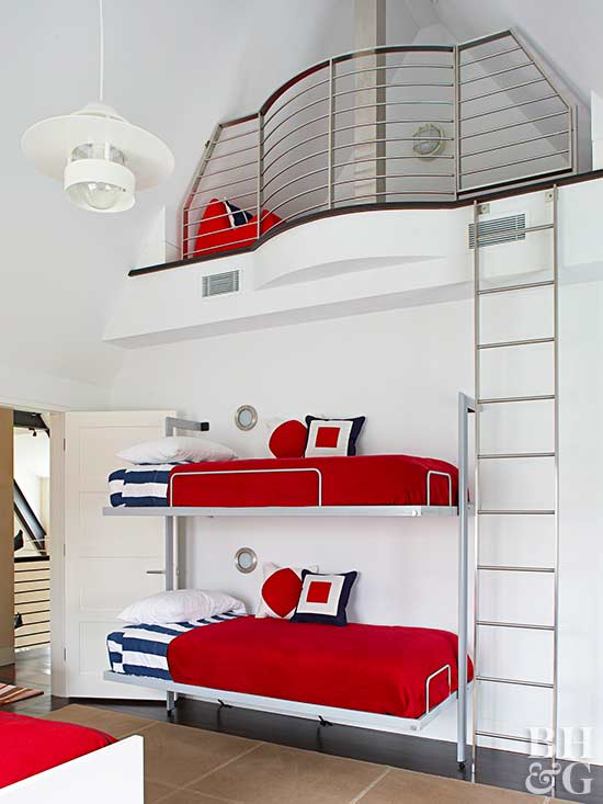 red white and blue bedroom, bunk beds, ladder