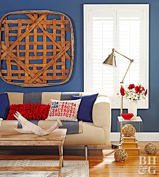 cobalt blue wall, red accents, red, white and blue decor