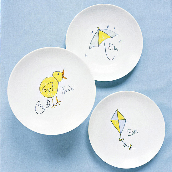 Kid Drawings on plates