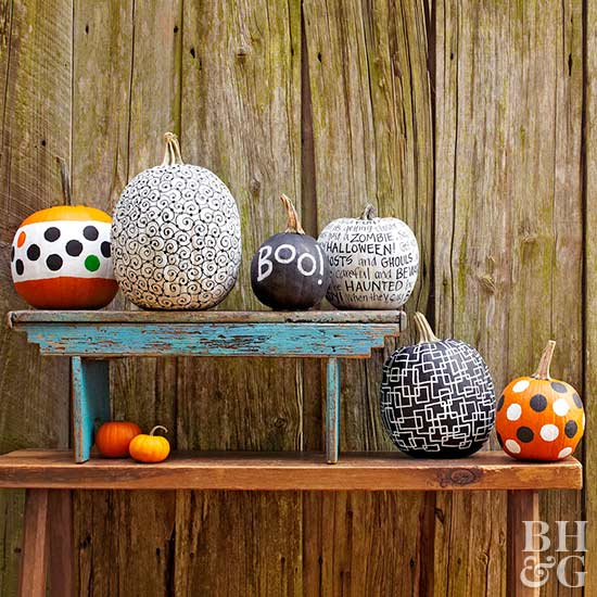 painted pumpkins, pumpkins, paint, DIY
