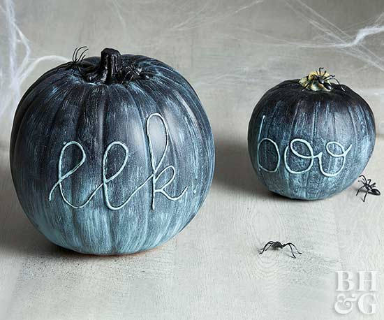 blue ombre pumpkins with raised lettering