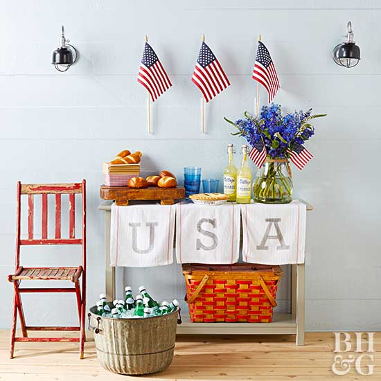 4th of July vignette, 4th of July. flags, USA