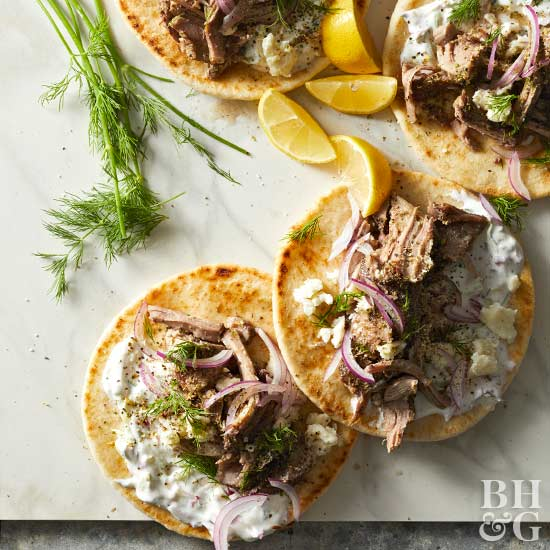 Pulled Pork Gyros with Dilled Radish Tzatziki