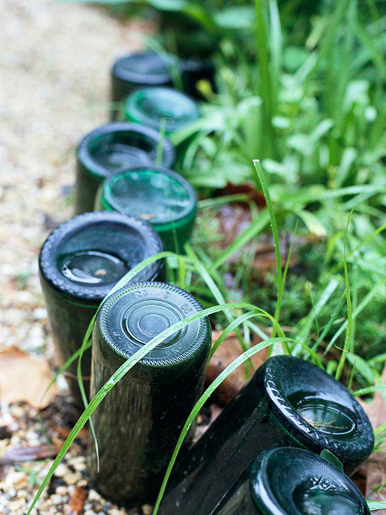 Recycled-Bottle Garden Edging