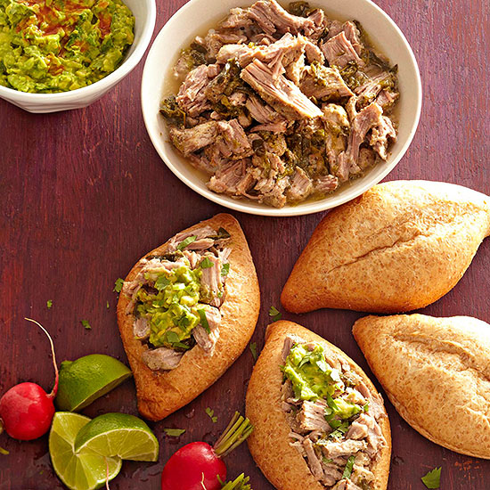 Lime-Chile Pork Tortas with Freezer Guacamole