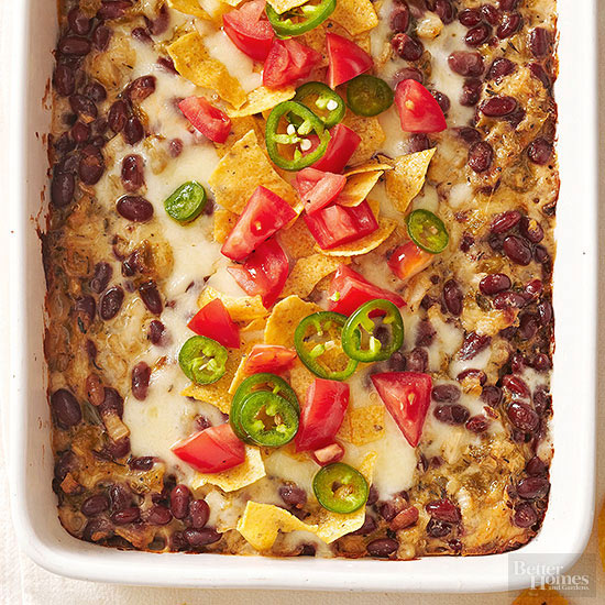 Red Bean, Cheese, and Triple-Chile Casserole
