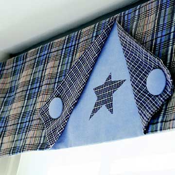 Plaid and Star button Valance