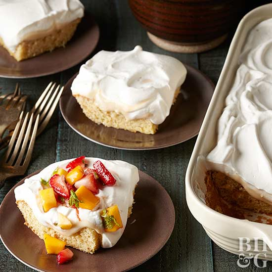 Almond Tres Leches Cake with Strawberry-Mango Salsa